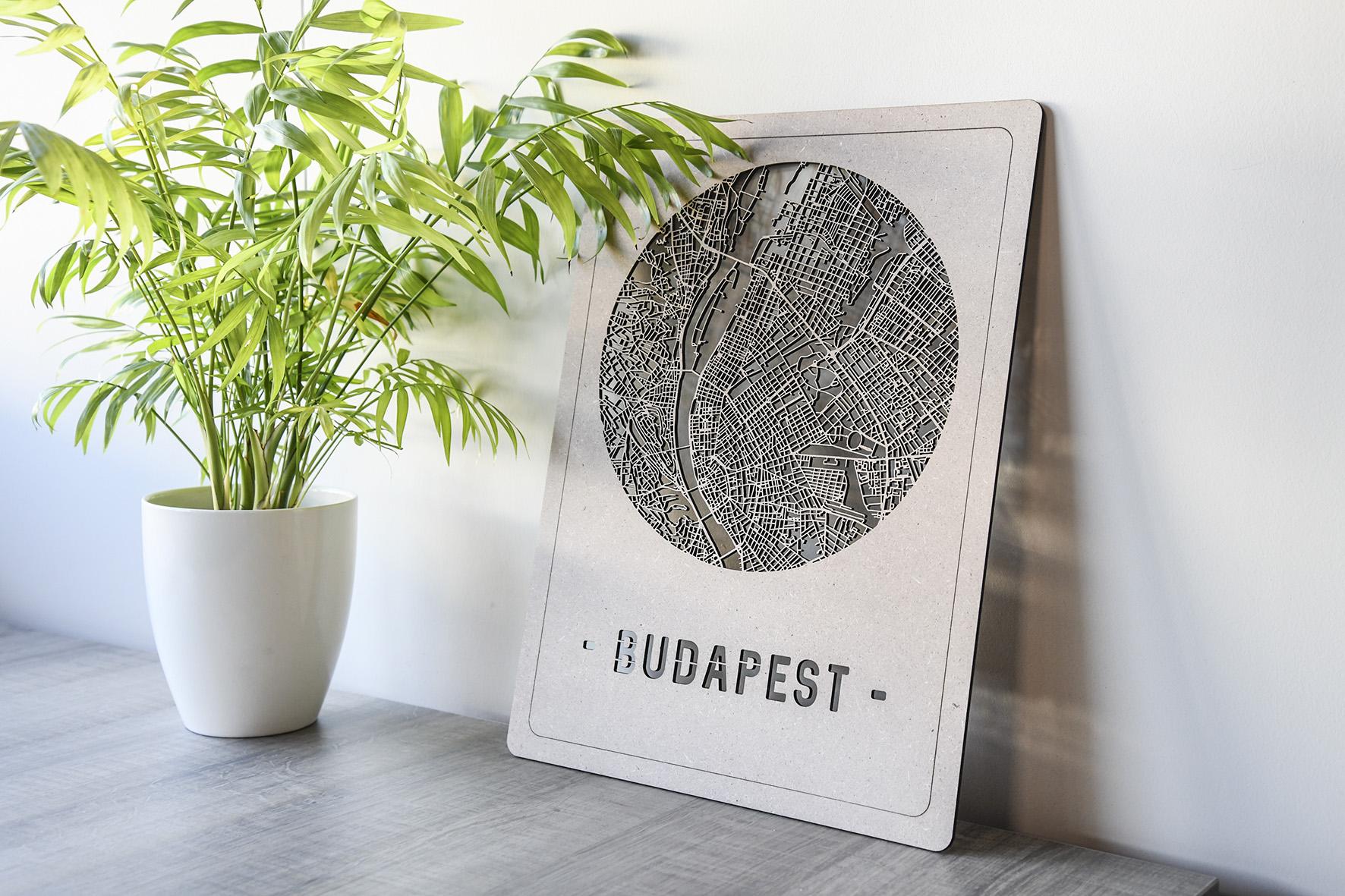 Houten stadskaart Budapest