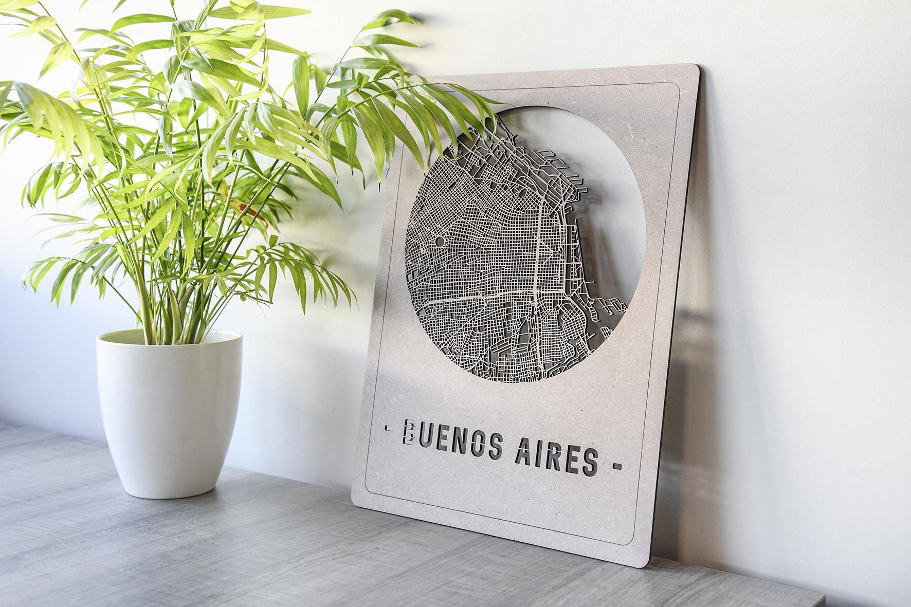 Houten stadskaart Buenos Aires