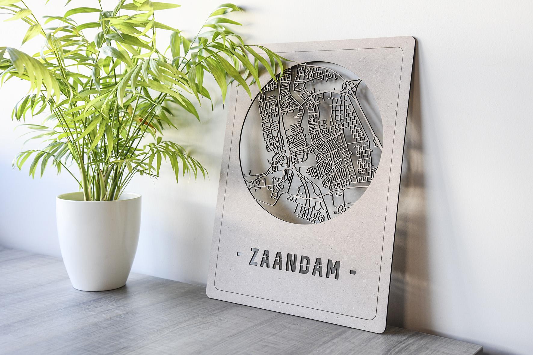 Houten stadskaart Zaandam