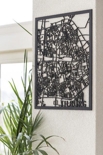 Stadskaart Tilburg zwart hout
