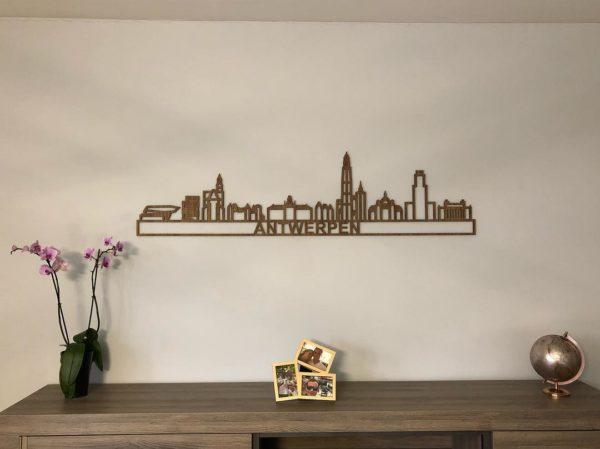 Skyline Antwerpen eiken hout