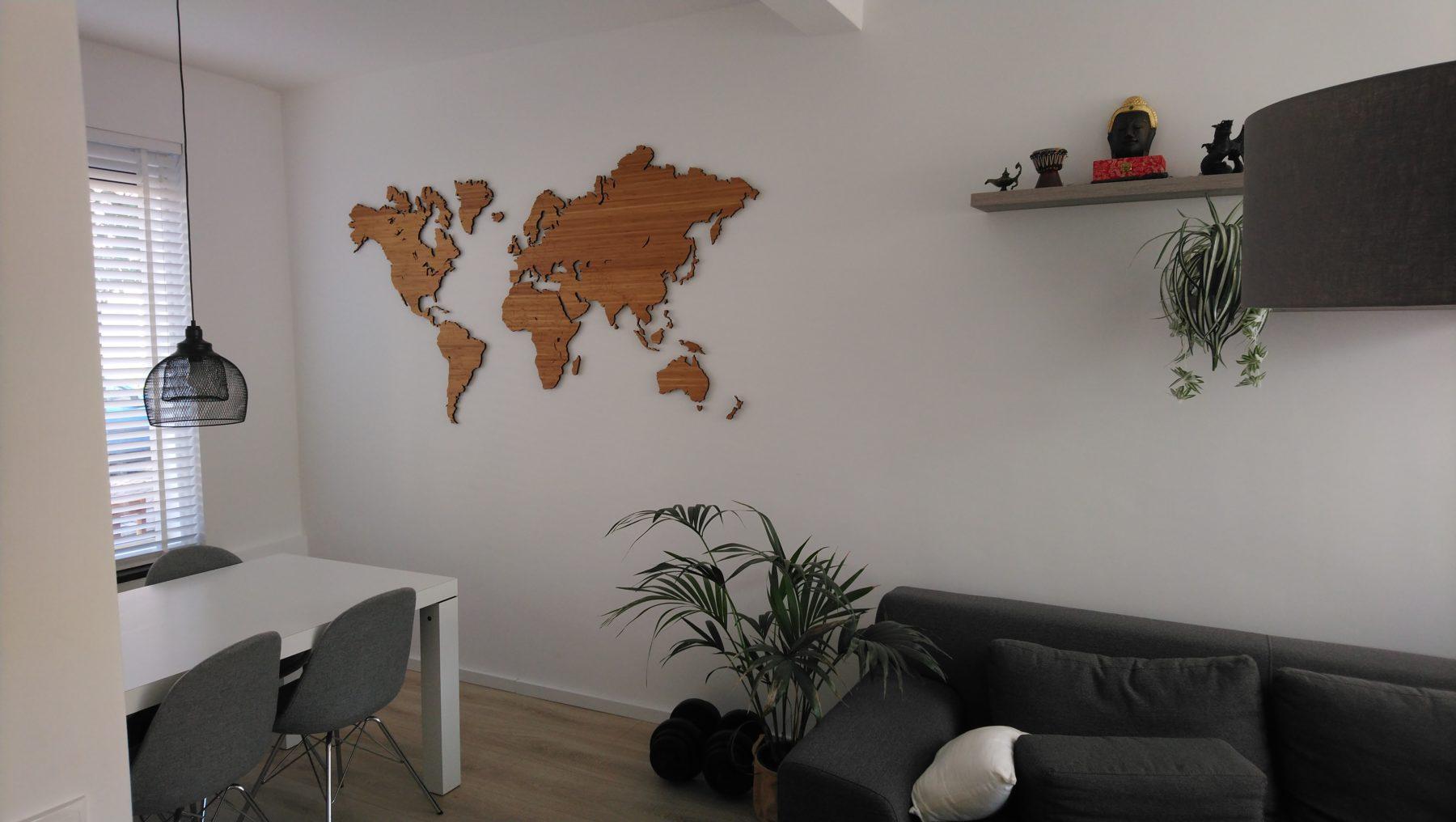 Wereldkaart Bamboe klein