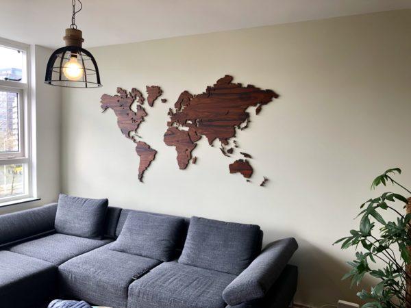 Wereldkaart palissander groot