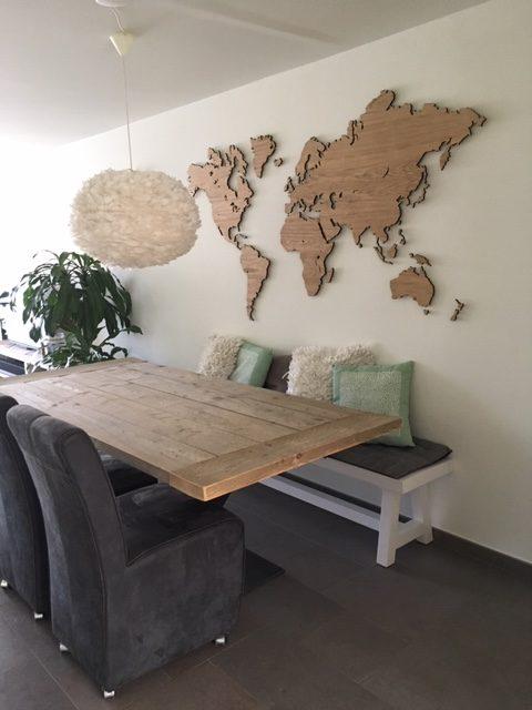 Wereldkaart eiken groot