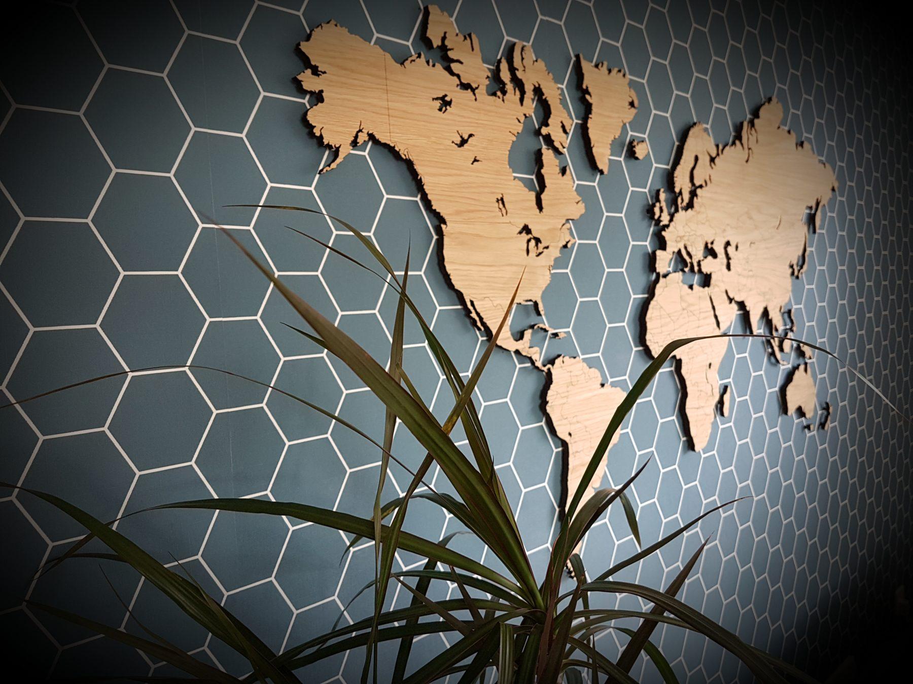 Wereldkaart eiken klein