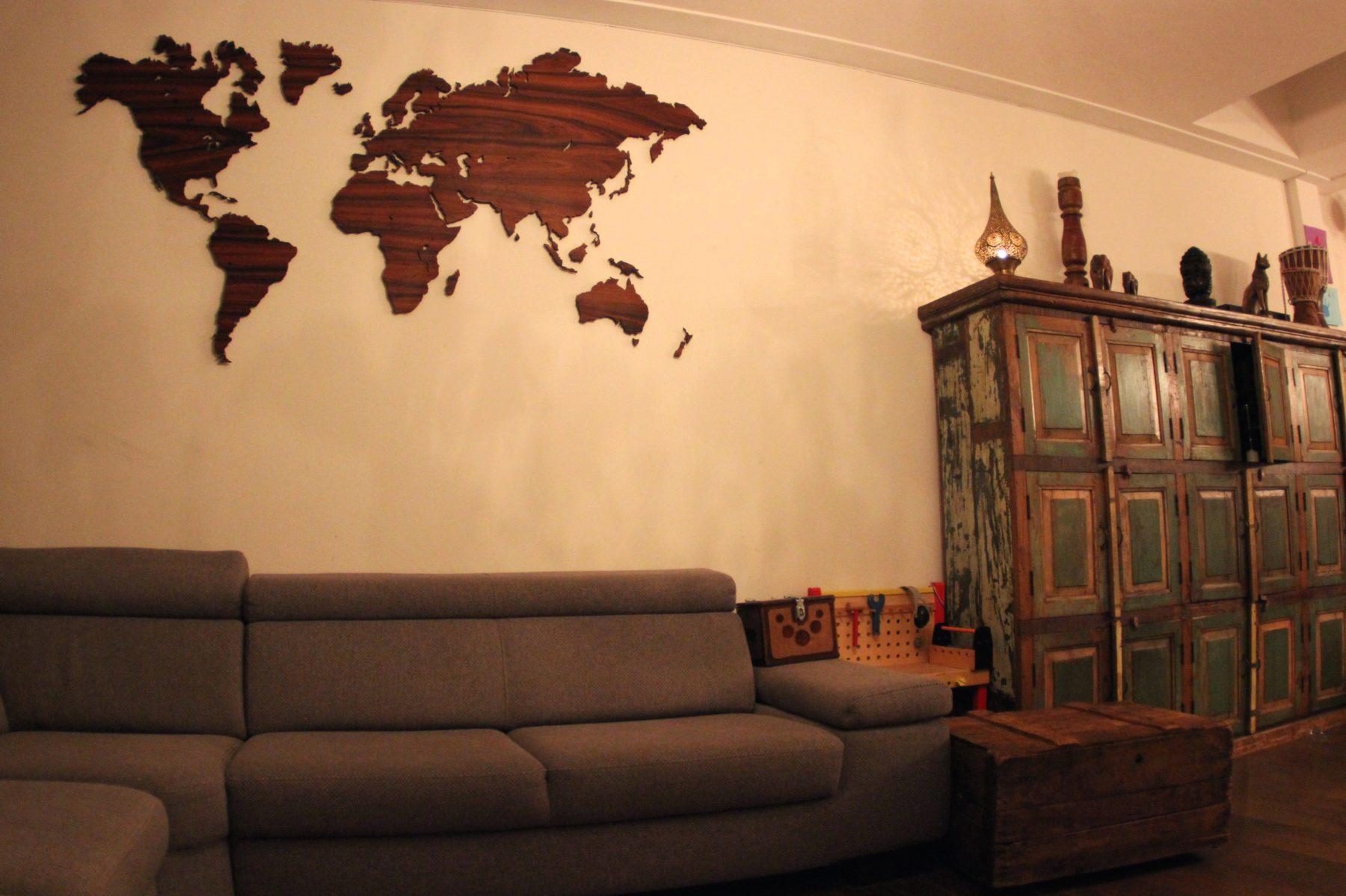Wereldkaart palissander klein