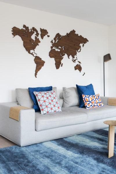 Noten houten wereldkaart inspiratie