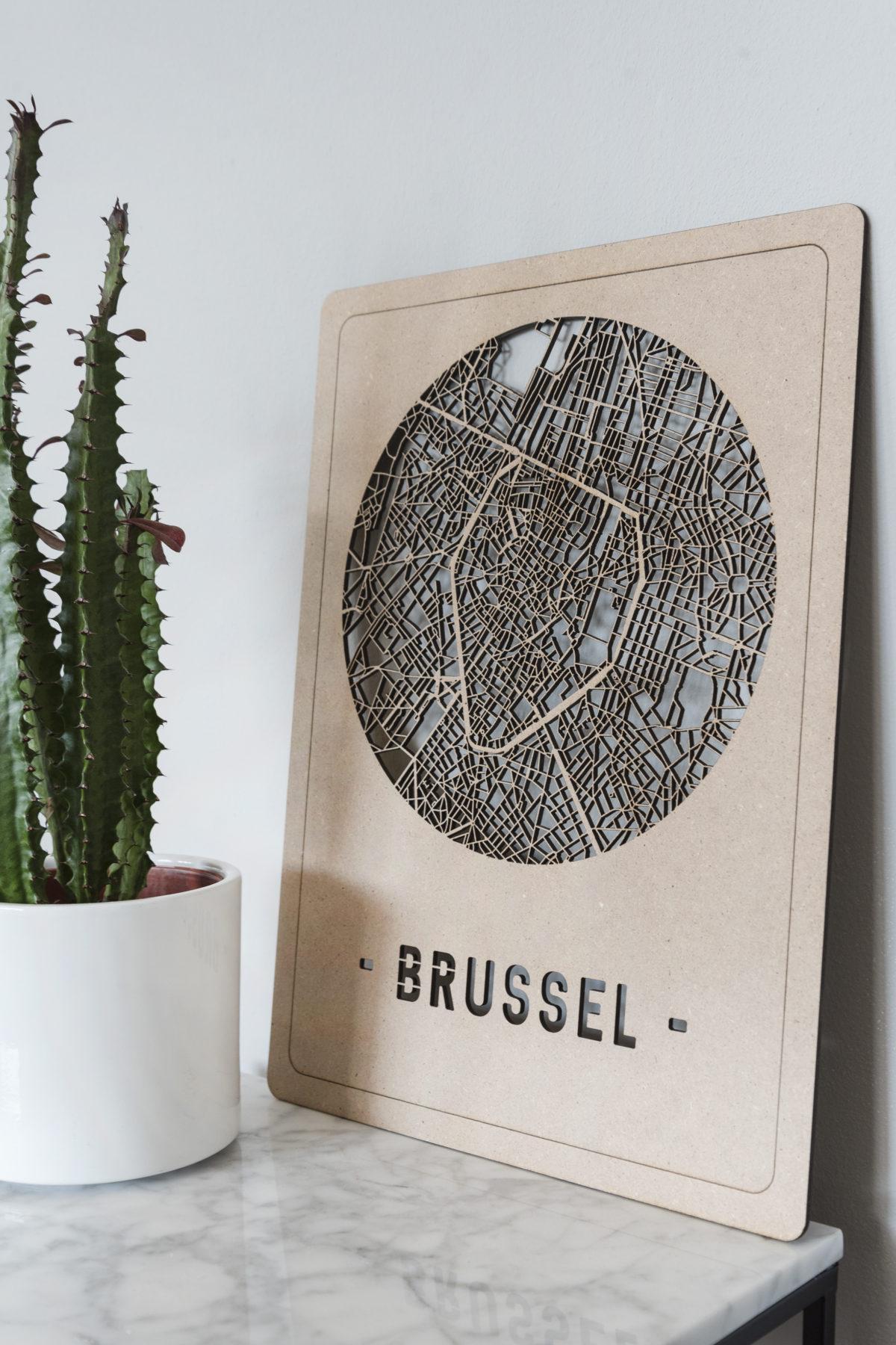 Houten stadskaart Brussel