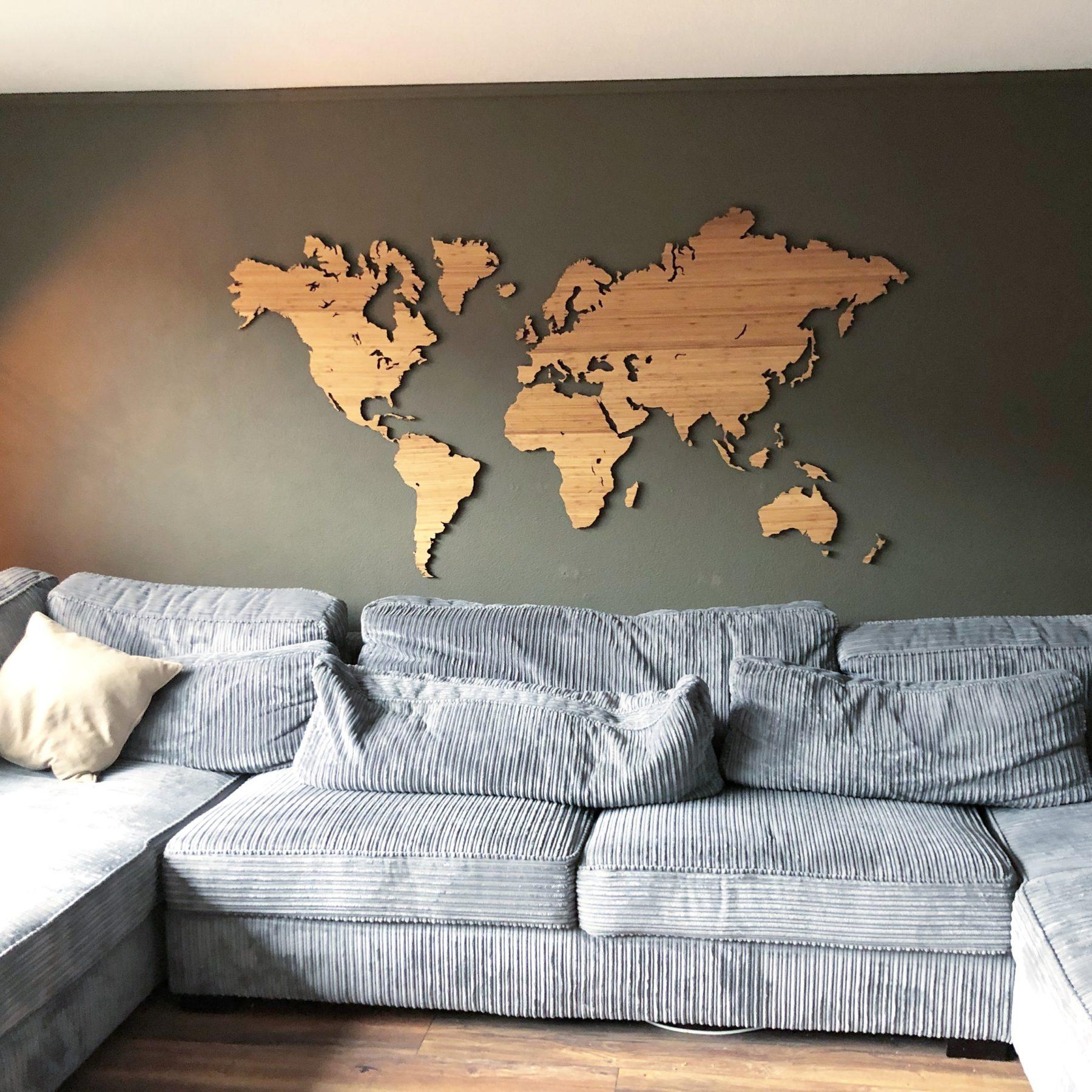 Wereldkaart bamboe groot