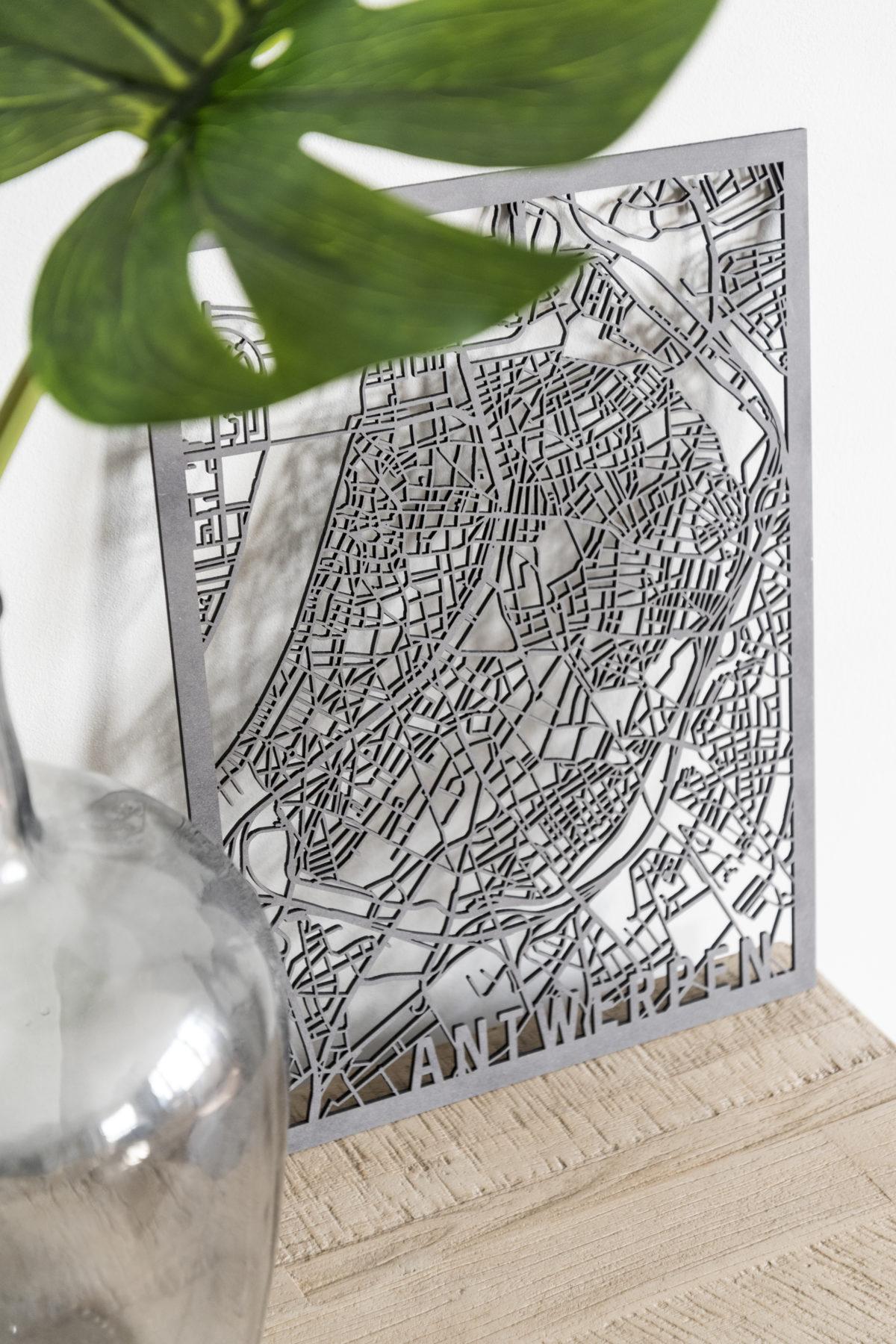 Stadskaart Antwerpen zwart hout