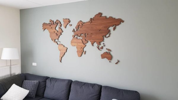 Wereldkaart eiken hout