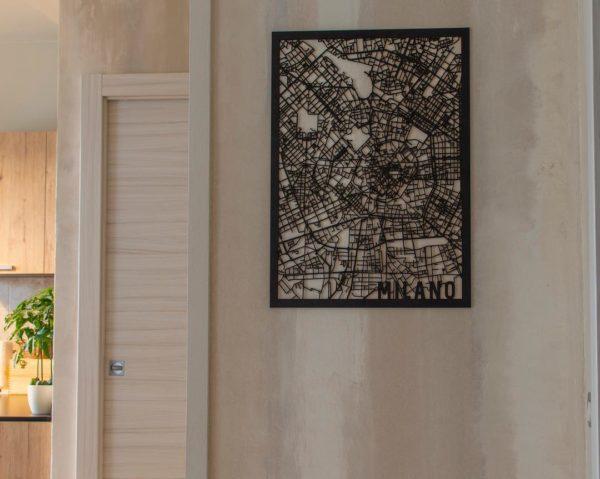 Houten stadskaart zwart Milan
