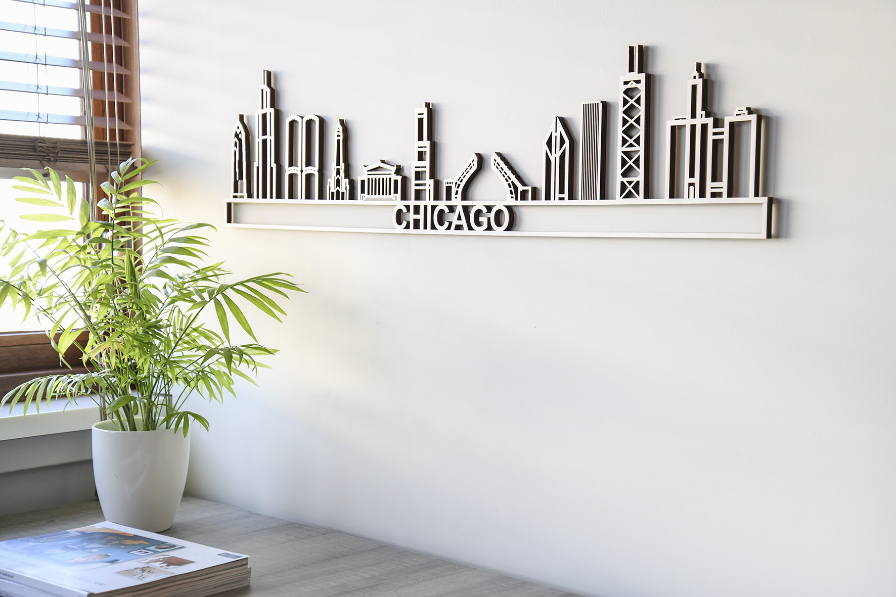 Houten skyline Chicago populier