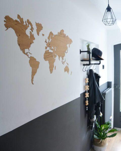 Eikenhouten wereldkaart sticker