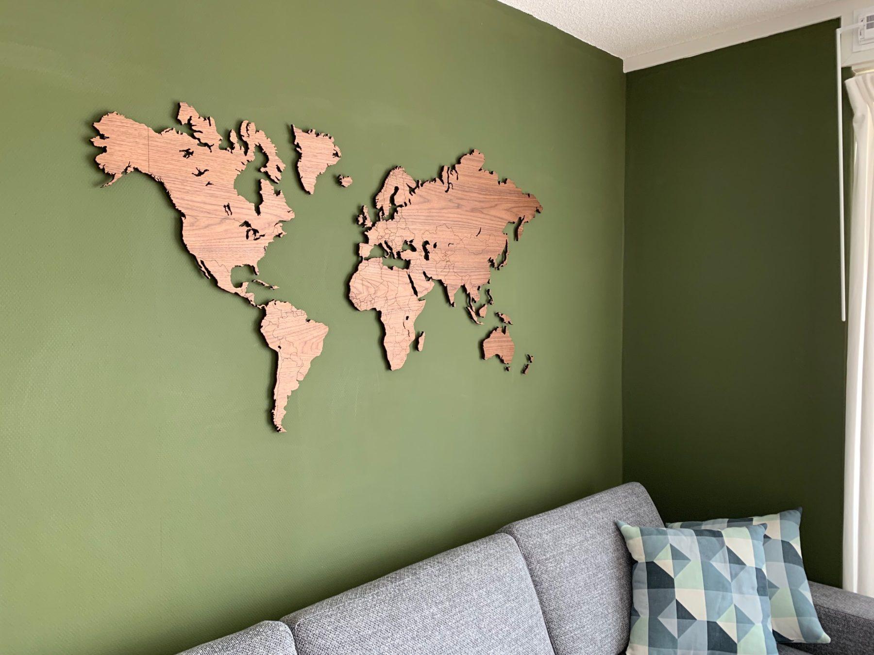 Wereldkaart noten klein