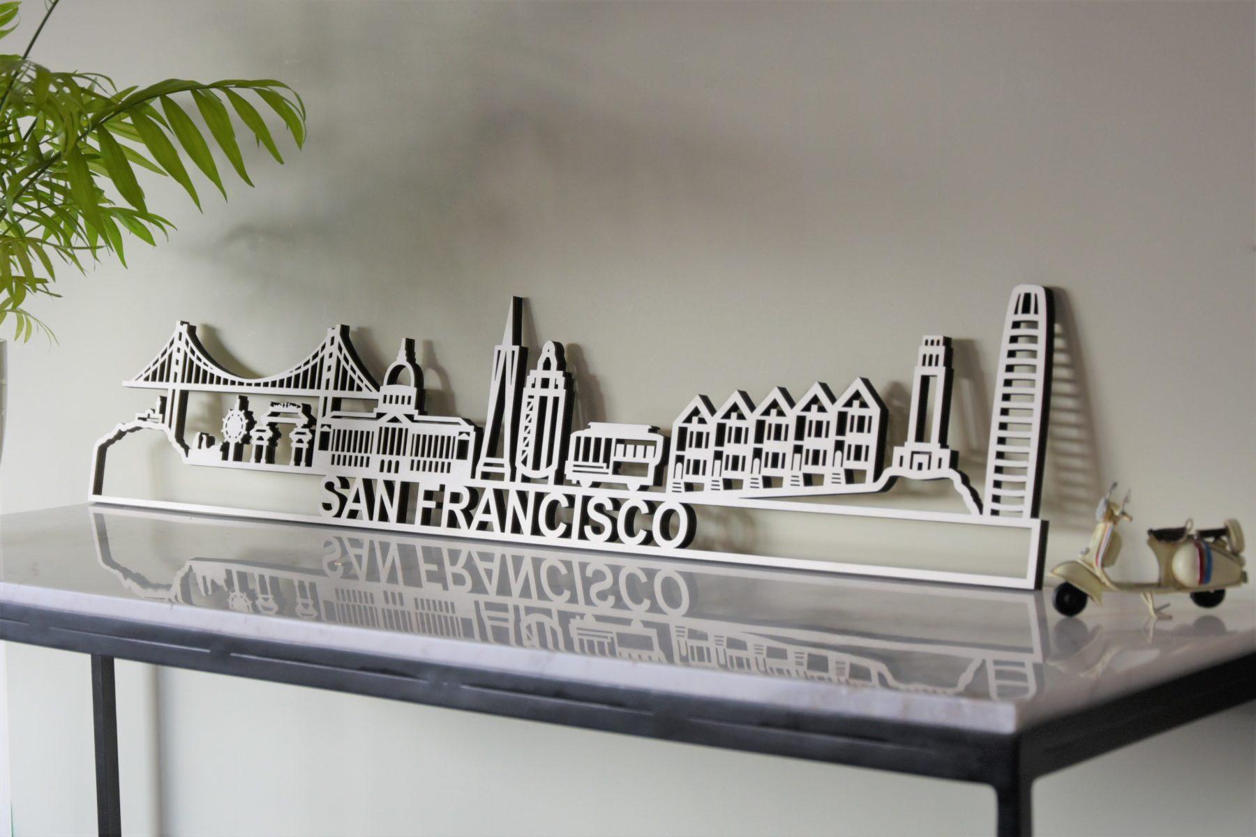 Skyline San fransisco populierenhout