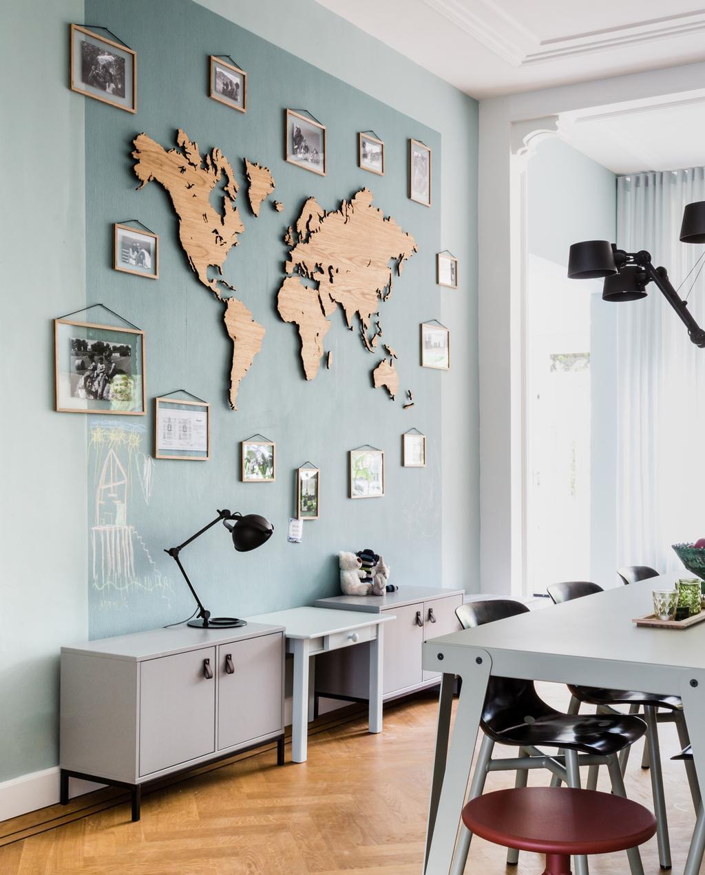 houten wereldkaart eiken