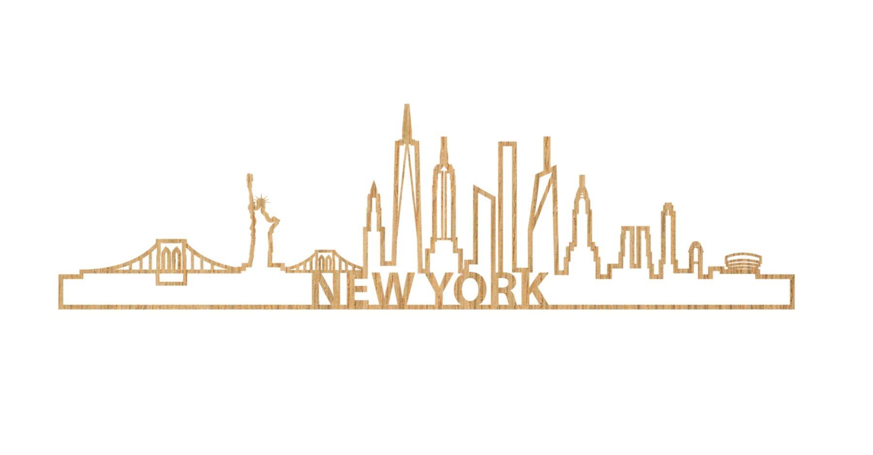 Skyline New York 60cm hout